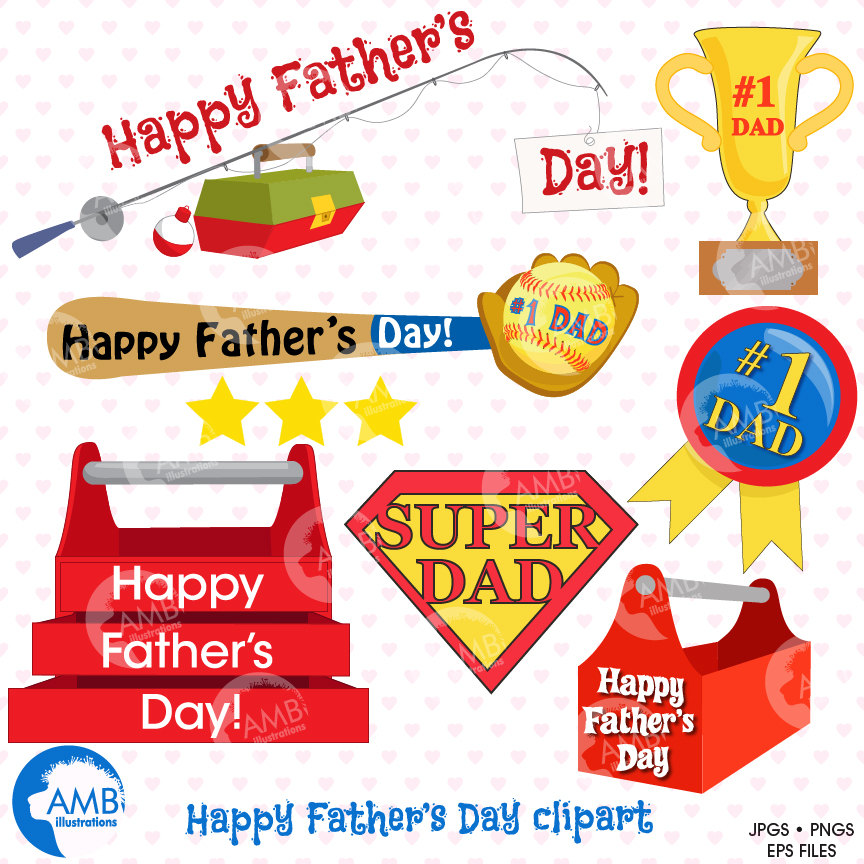 Fathers day titles and embellishments, Father's Day clipart, AMB.