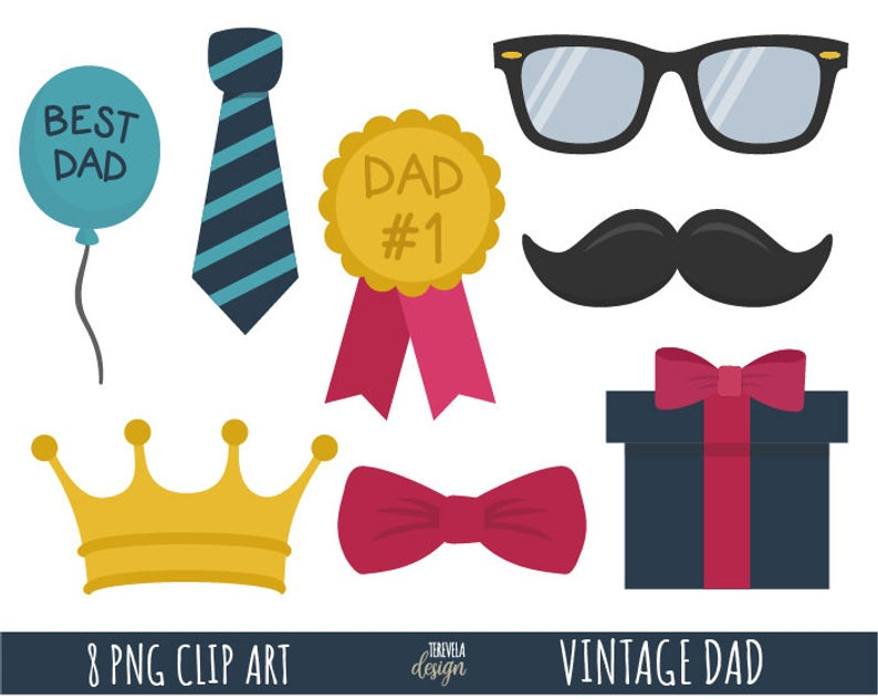 VINTAGE DAD clipart, father's day clipart, dad clipart, crown, ballots,  glasses, best dad, father's day graphics, printable, cute, gift.