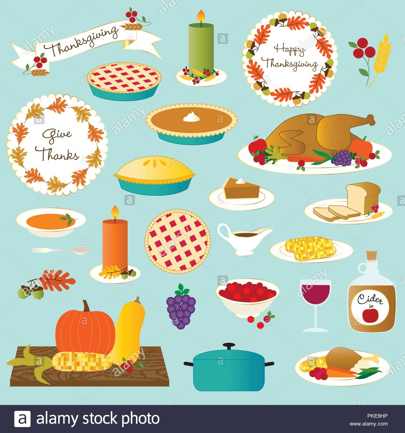thanksgiving traditional feast foods vector clipart Stock Vector Art.