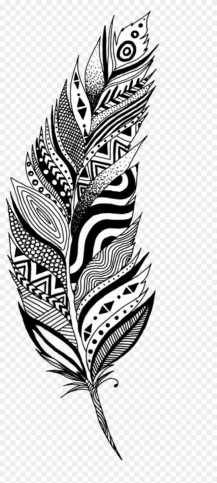 Black And White Feather Tattoo Design.