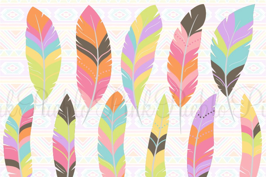 Tribal Feather Clipart and Vectors.