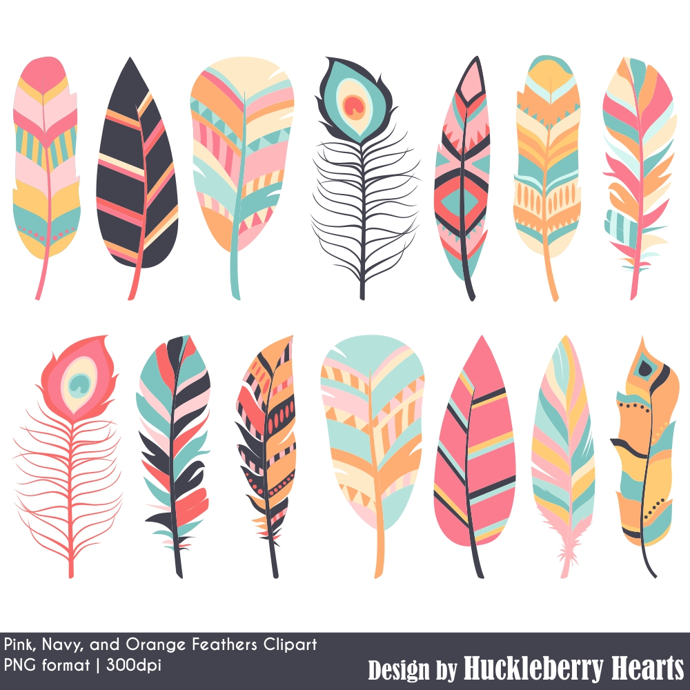 Navy, Pink and Orange Feather Clipart Set.