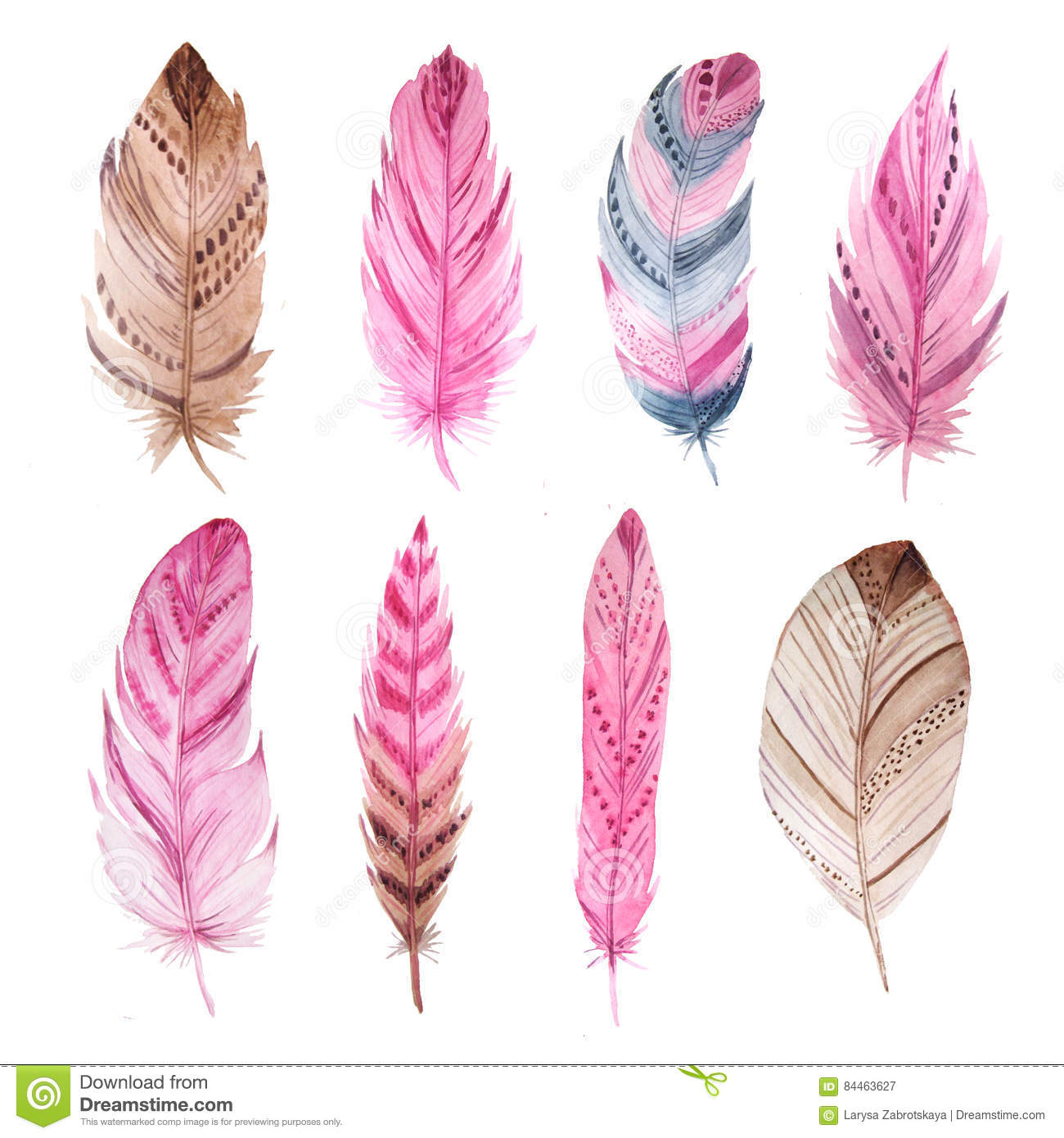 Watercolor Exotic Feathers Set Stock Illustration.