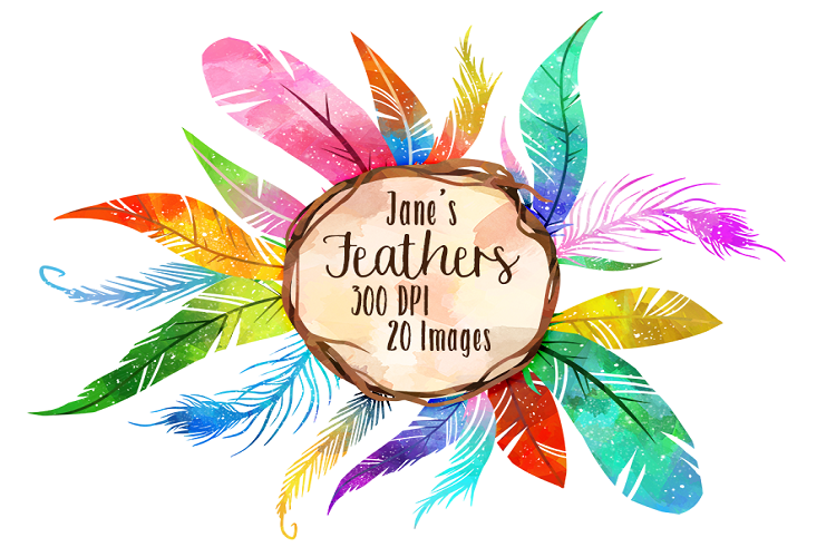 Watercolor Colorful Feathers Clipart.