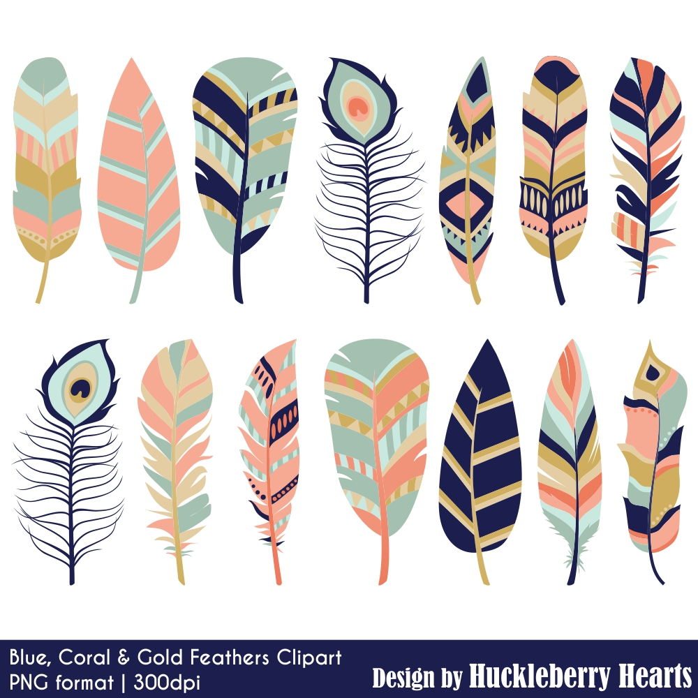 Blue, Coral and Gold Feather Clipart.
