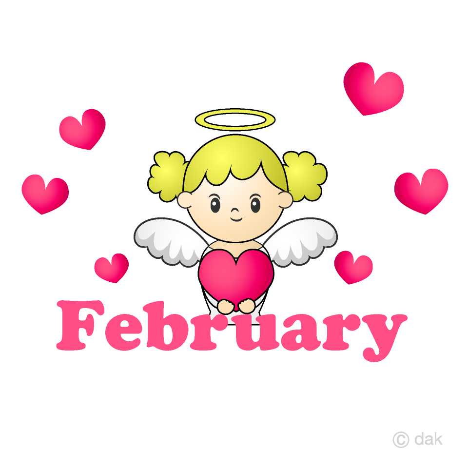 Heart Angel February Clipart Free Picture|Illustoon.
