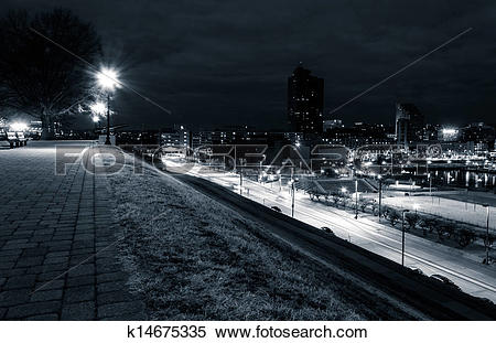Stock Image of View of Key Highway and Baltimore from Federal Hill.