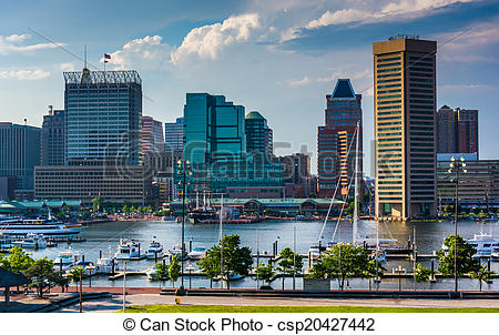Stock Photo of View of the Baltimore skyline and Inner Harbor from.