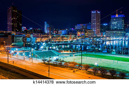 Pictures of View of the Baltimore Inner Harbor and skyline during.