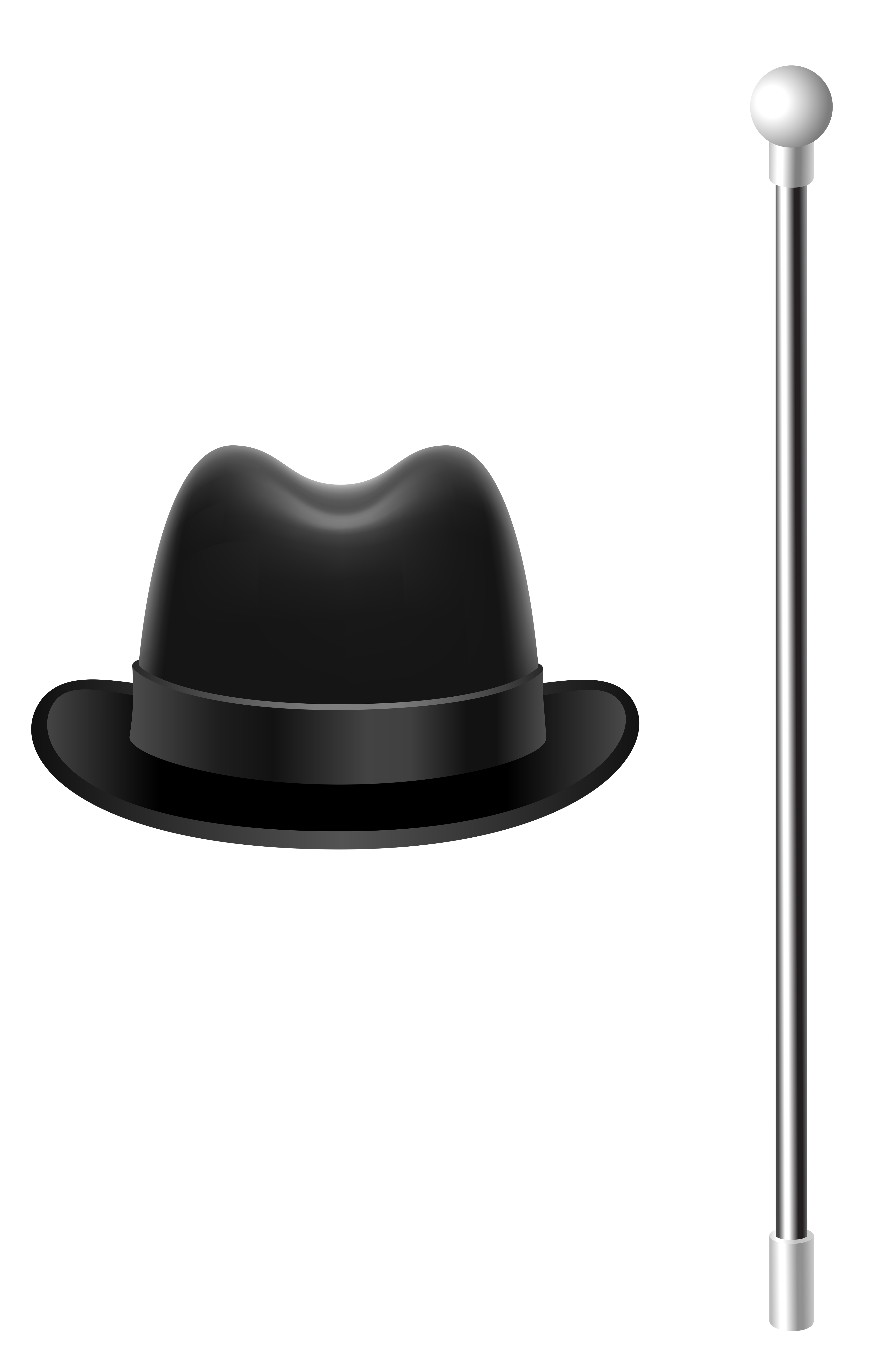 Fedora Hat with Cane PNG Clipart Picture.