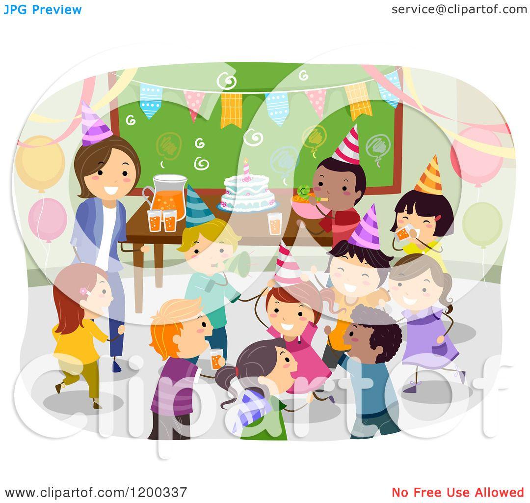 Cartoon of a Female Teacher and Happy Diverse School Children.