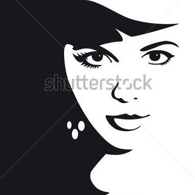 Black and White Female Face Vector Illustration stock vector.