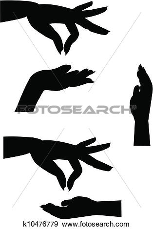 Clip Art of female hand silhouettes k10476779.