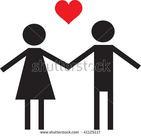 Clip Art Illustration Couple Holding Hands Stock Illustration.