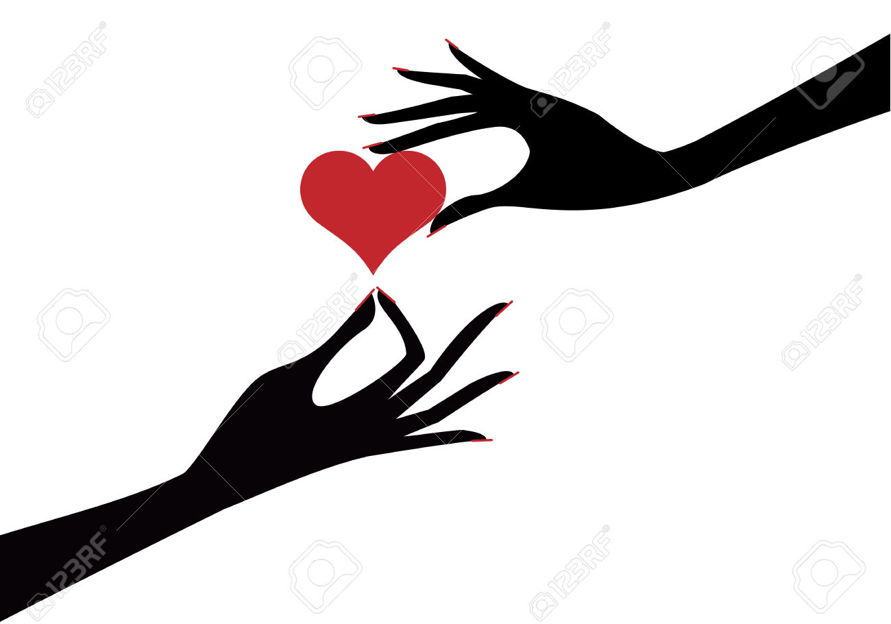 Female Hands With Red Heart Background Royalty Free Cliparts.