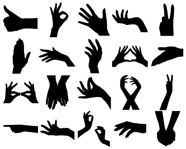 Female Hand Silhouette Clip Art, Vector Images & Illustrations.