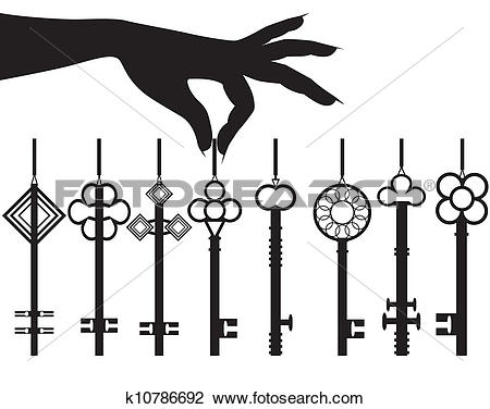 Clipart of Silhouette female hand hold key set k10786692.