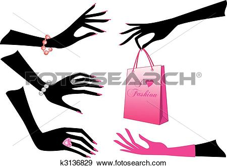 Clip Art of female hands, vector k3136829.