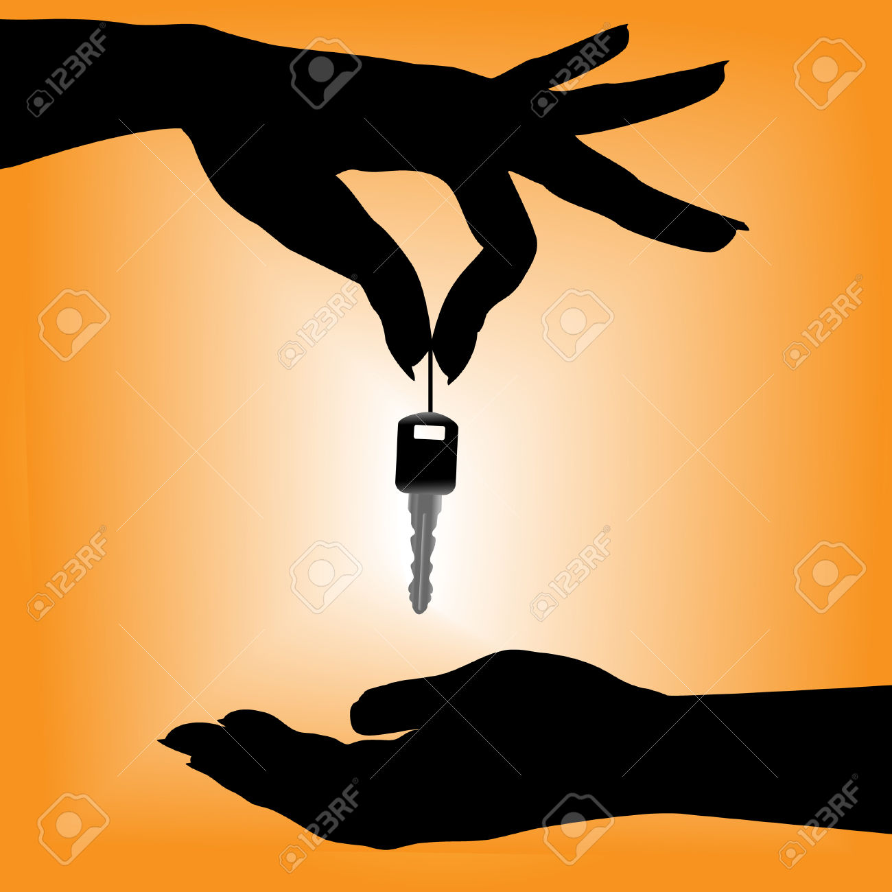 A Silhouette Female Hand Holds An Auto Key Over A Cupped Hand.
