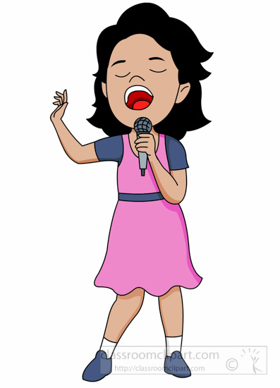 Young female singer holding microphone performing clipart.