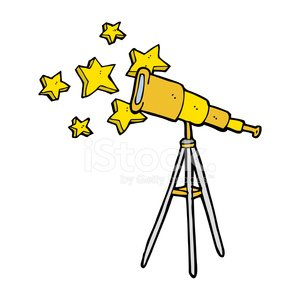 cartoon telescope Clipart Image.