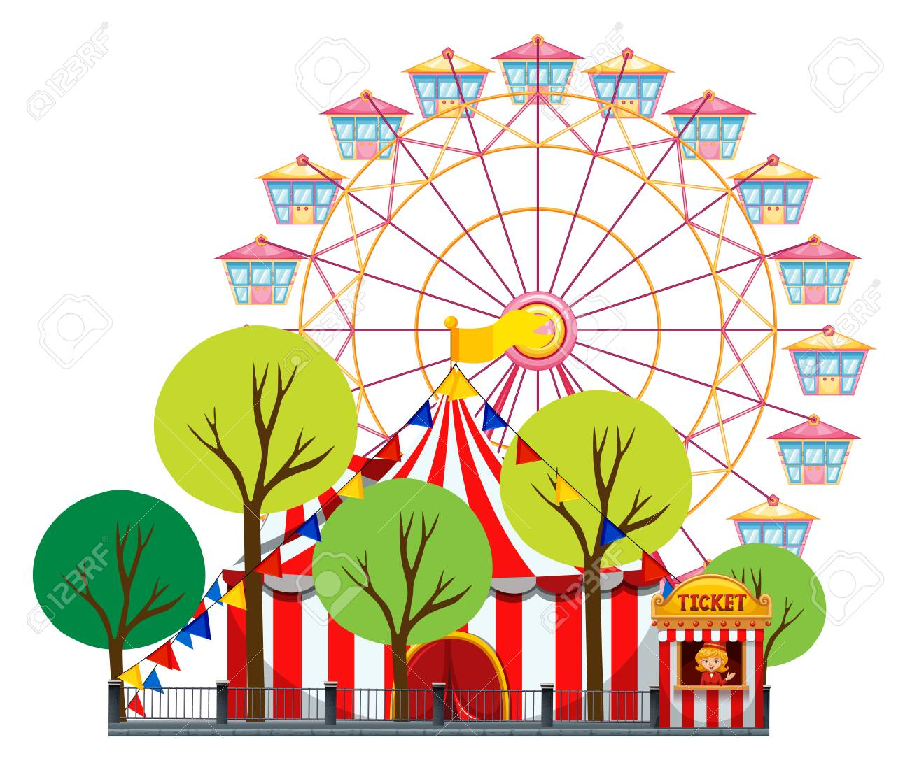 Circus scene with tent and ferris wheel illustration.