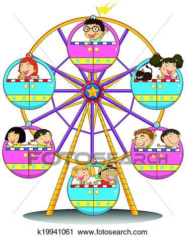 Happy children riding the ferris wheel Clipart.