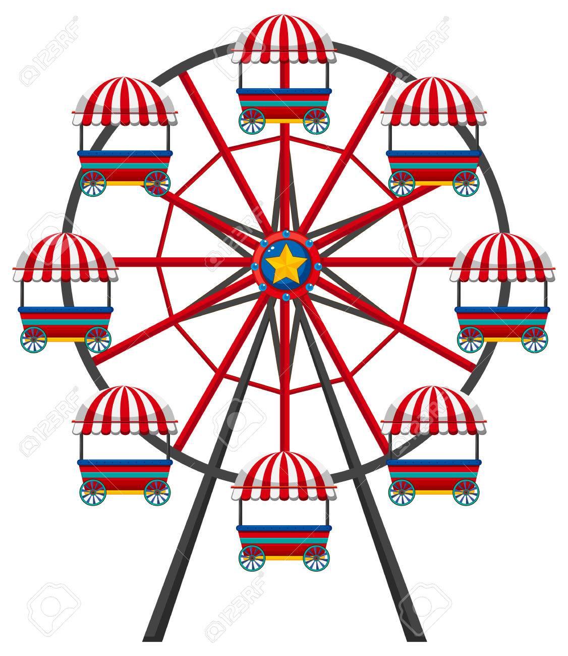Ferris wheel on white background illustration.