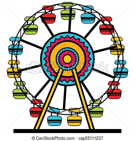 Ferris Wheel Cartoon Icon.