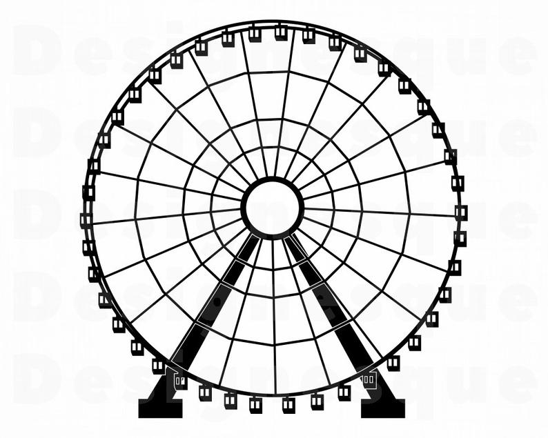 Ferris Wheel SVG, Ferris Wheel Clipart, Ferris Wheel Files for Cricut,  Ferris Wheel Cut Files For Silhouette, Dxf, Png, Eps, Vector.