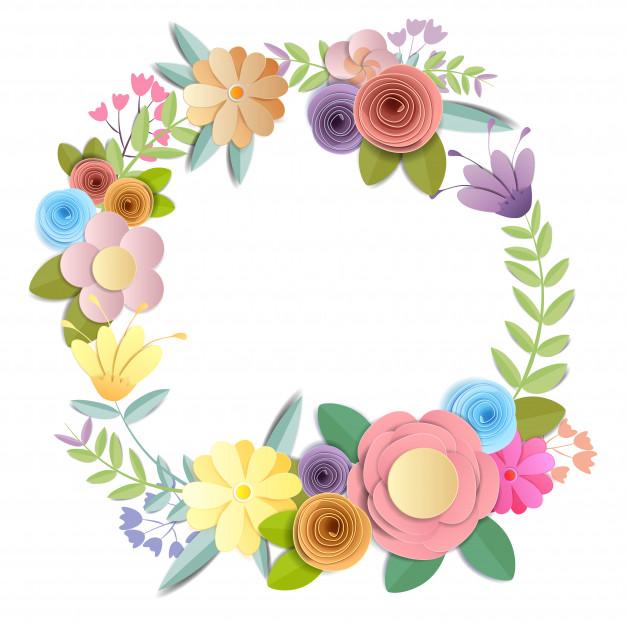 Fleurs en papier craft, bouquet floral festif, clipart.