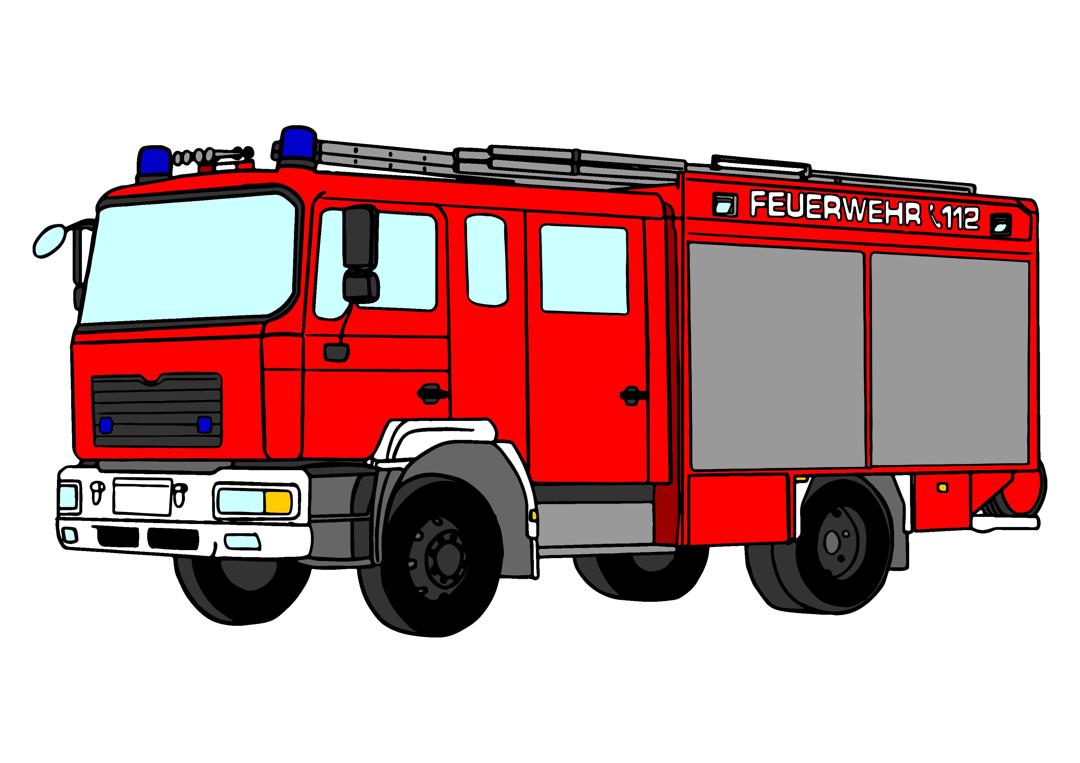 Feuerwehrauto clipart schwarz weiß 3 » Clipart Station.