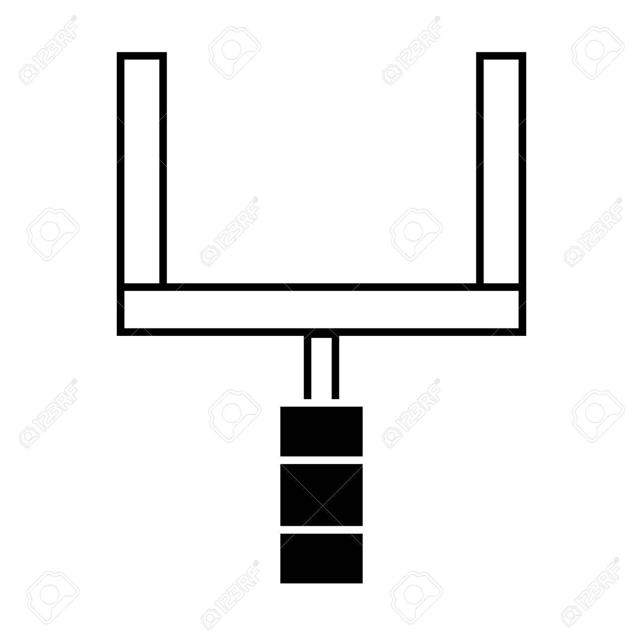 Contour goal post to football field sport vector illustration..