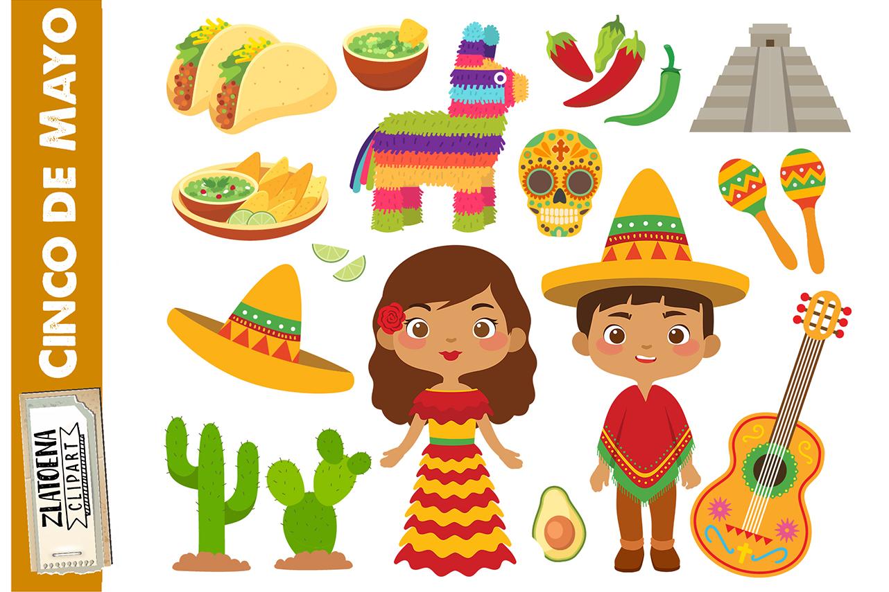Mexican clip art Cinco de Mayo clipart Fiesta clipart.