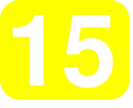 Yellow White Number Rounded Rectangle 15 Fifteen Clipart.