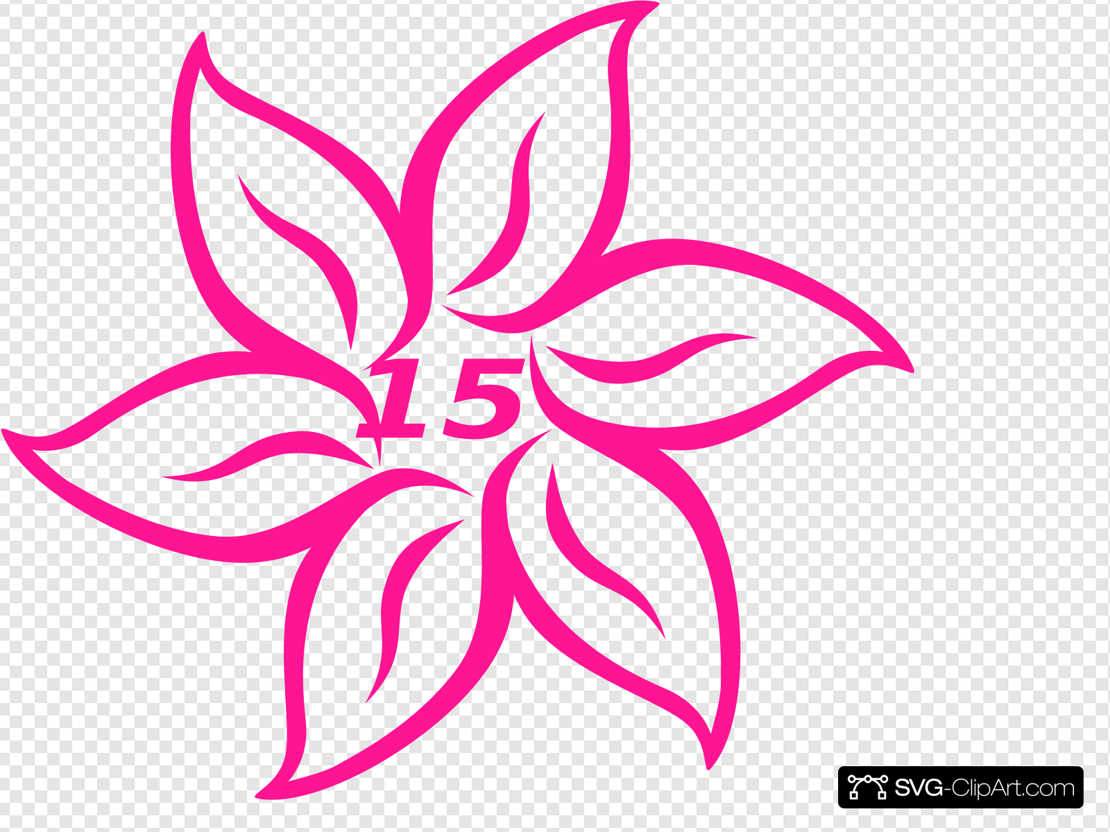 Flower Fifteen Pink Clip art, Icon and SVG.