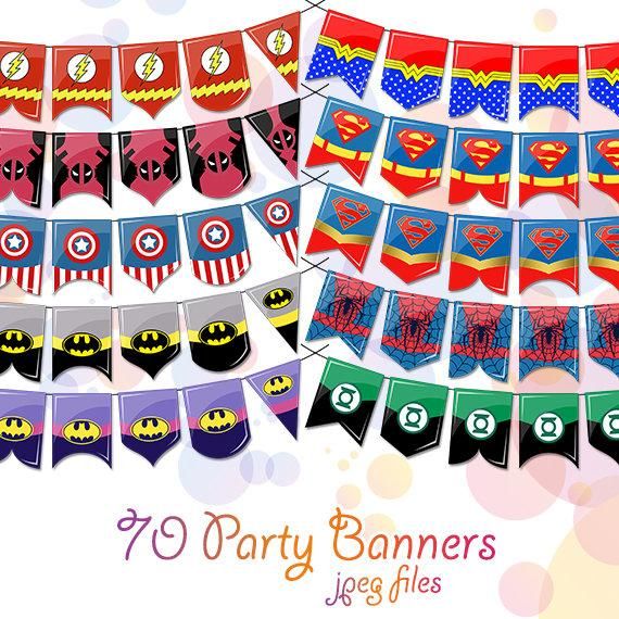 Superhero Digital Clipart Birthday Banner Party Decorations.