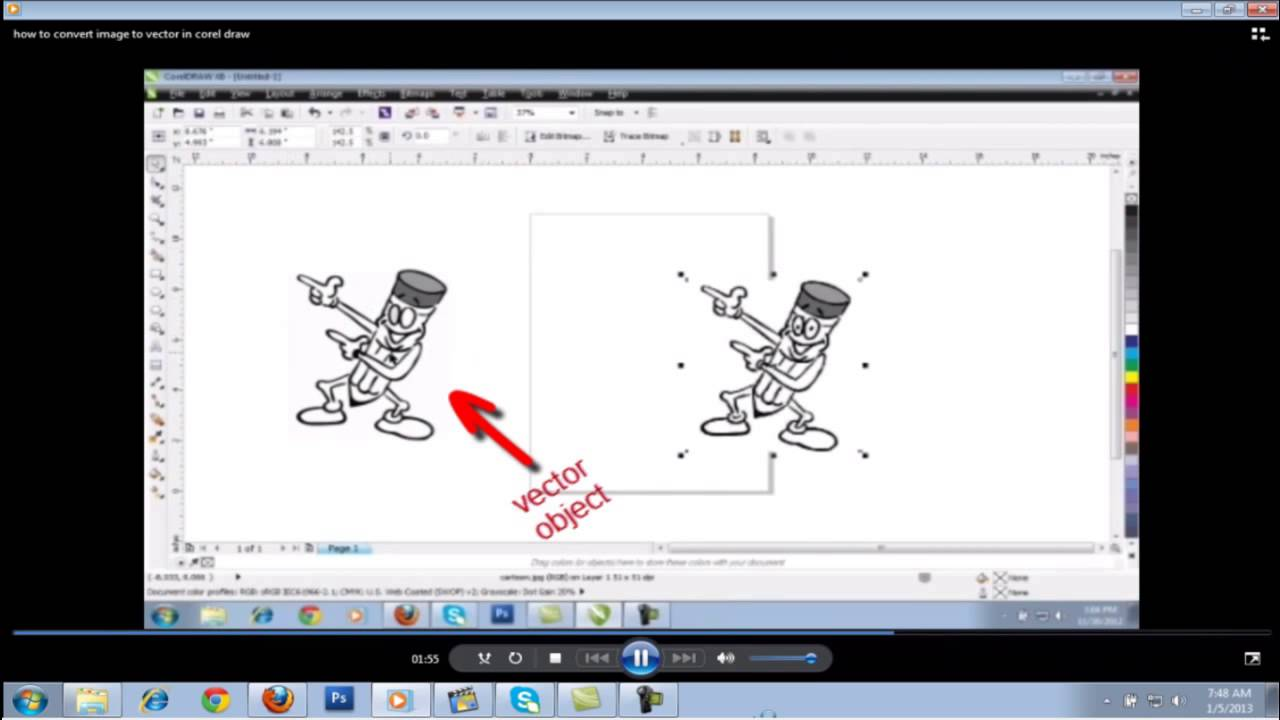 Quickly Convert image to Vector in corel draw.