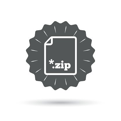 Archive file icon. Download ZIP button Clipart Image.