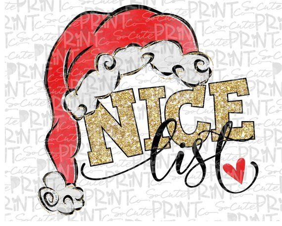 Christmas, Nice List clipart, Christmas png file for.