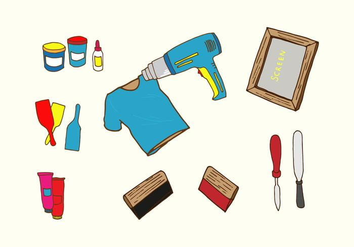 Screen Printing Icons eps, svg file.