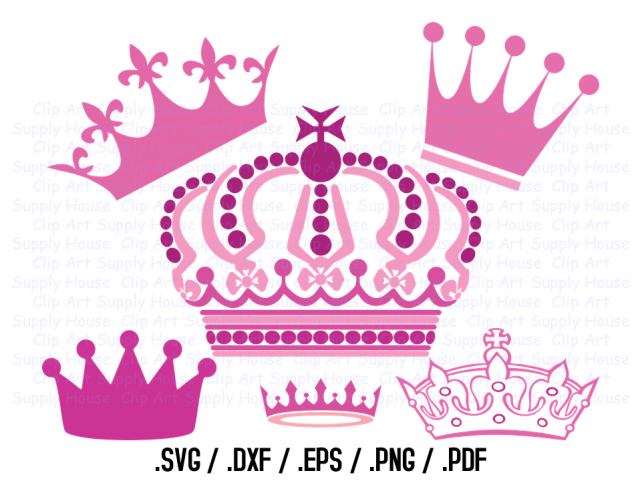 Crown Clipart Design File, SVG Crown Clipart, Png Crown Wall Art, Vector  Screen Print, Silhouette Die Cut, Princess Svg, Prince Svg.