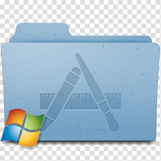 Mac Win Folders, blue file folder illustration transparent.