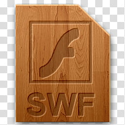Wood icons for file types, swf, Adobe SWF reader transparent.