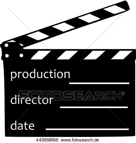 Filmklappe, mit, produktion, direktor, und, datum Clipart.