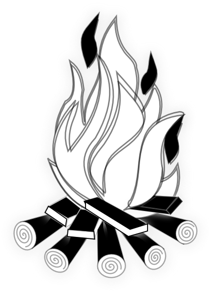 Fire Clipart Black And White Png.