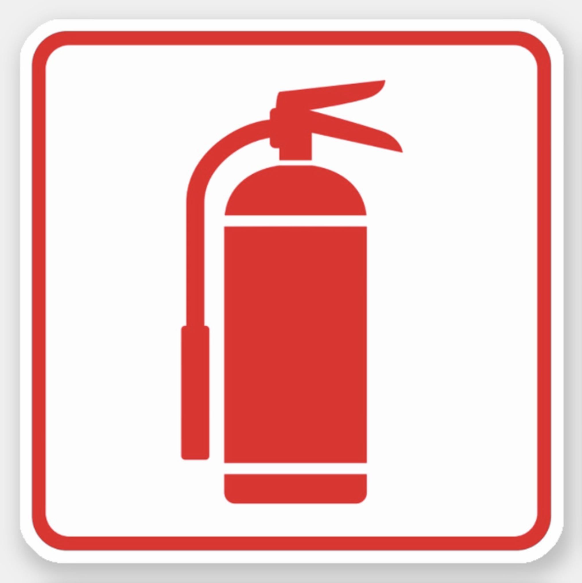 Fire extinguisher symbol, red on white, red border sticker.