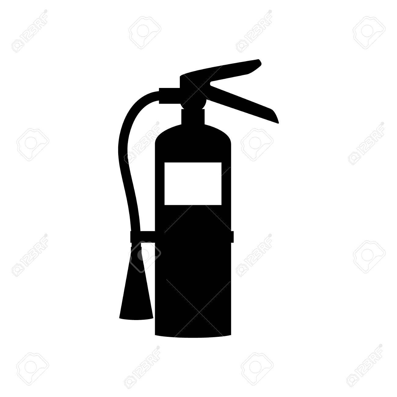 Fire extinguisher black isolated icon sign. Fire extinguisher...