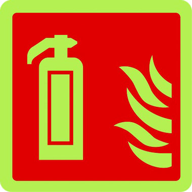Fire Extinguisher symbol in photoluminescent sign.