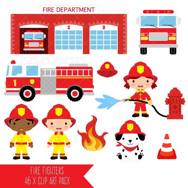 Firefighter Clipart / Fire Fighter / Fireman / Fire Engine.